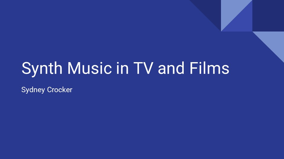 Sydney Crocker: Synth Music in TV and Films